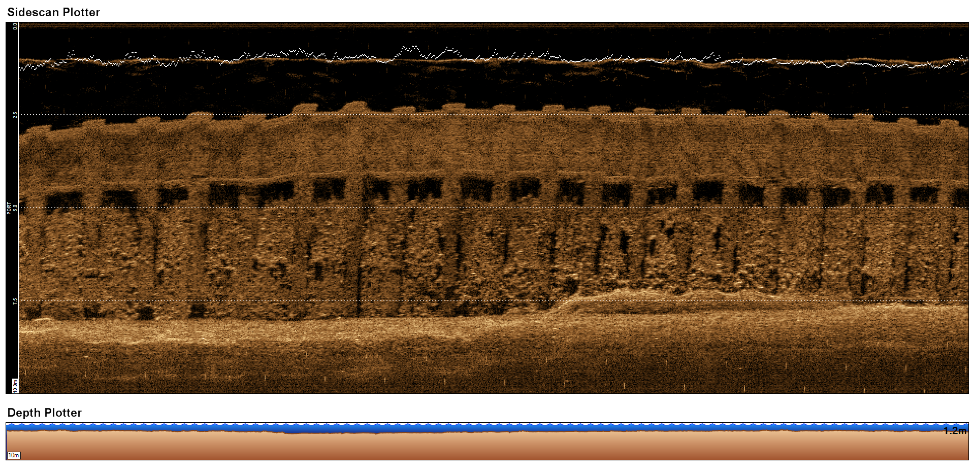 The curve of the harbour wall has slight adverse effects on the scan and this can be seen in the scan above where on the left hand side the wall appears to get shorter and fall away.